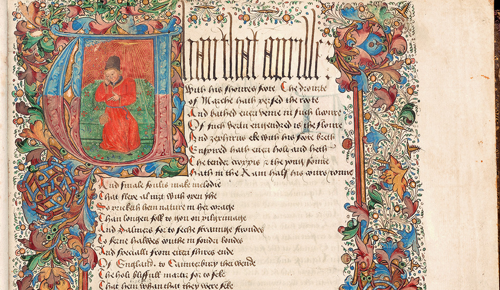 """A detail of Geoffrey Chaucer's """"The Canterbury Tales,"""" with medieval illustrations."""