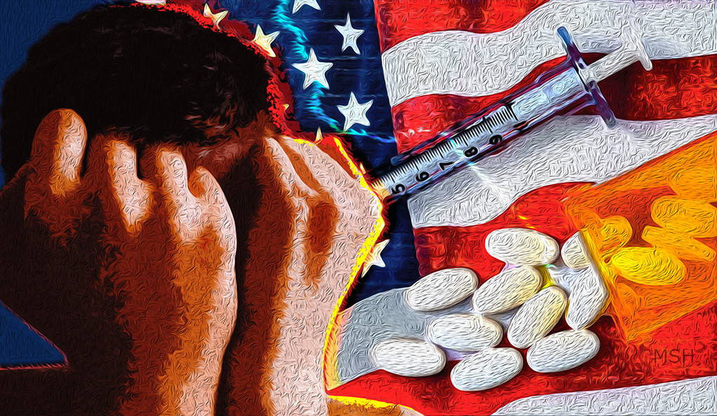 A collage of the American flag, opioid drugs, and a crying child.