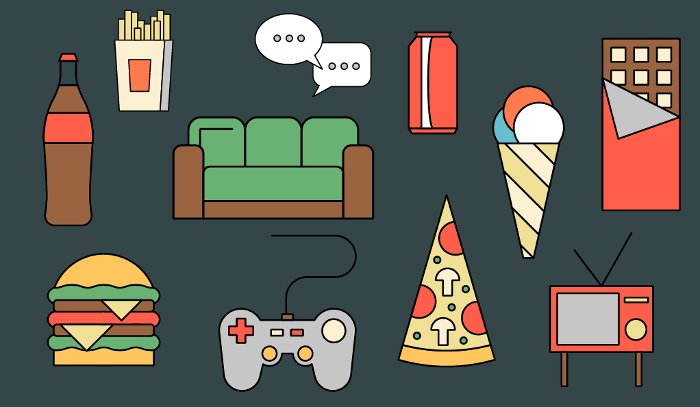 collage: junk food and sedentary activities