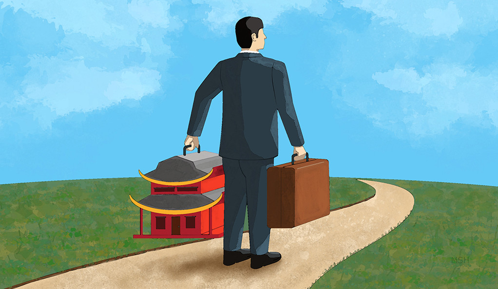 A man leaving with his things and his house, artistic depiction