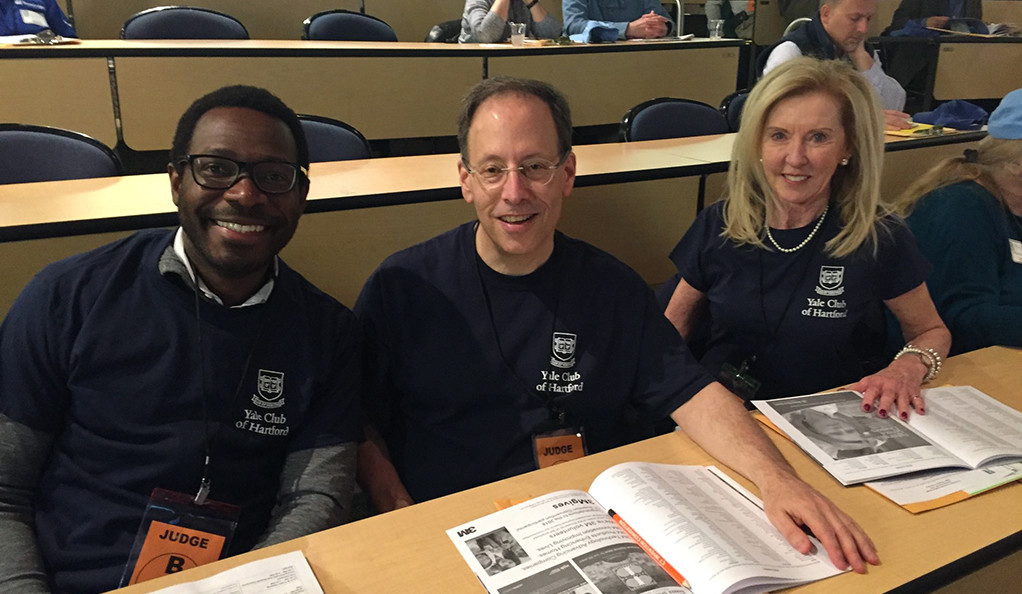 Katherine McCormack '81 M.P.H., Eric Fleischmann '83 B.A., and Frederick Sowah '06 B.A. at the Connecticut Invention Convention.