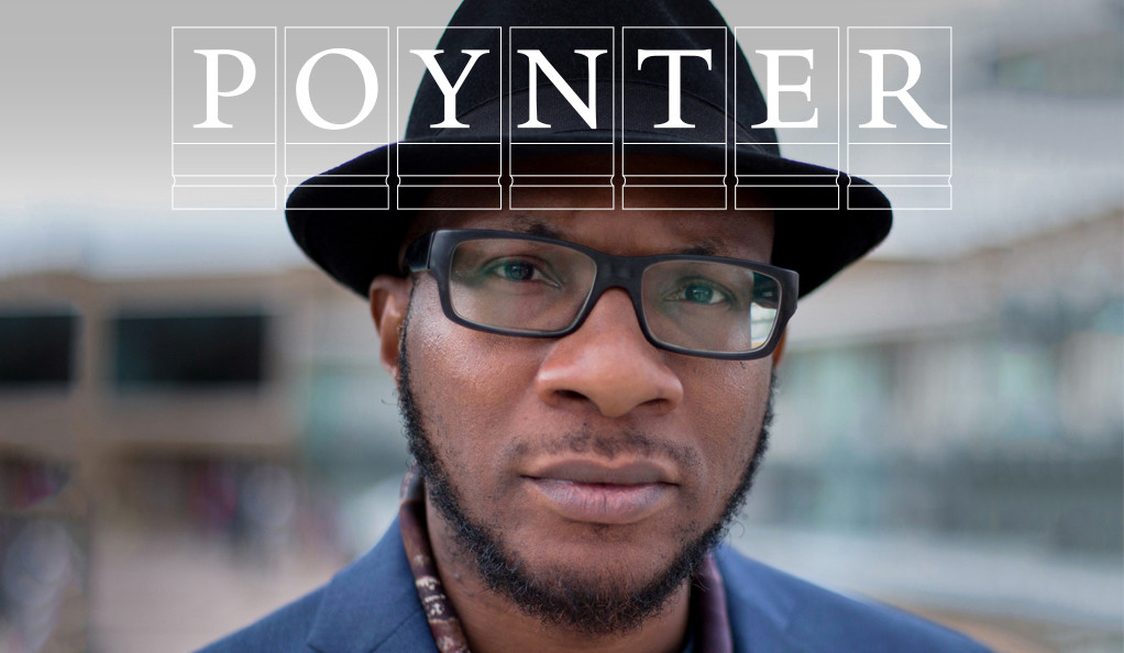 Teju Cole with Poynter logo