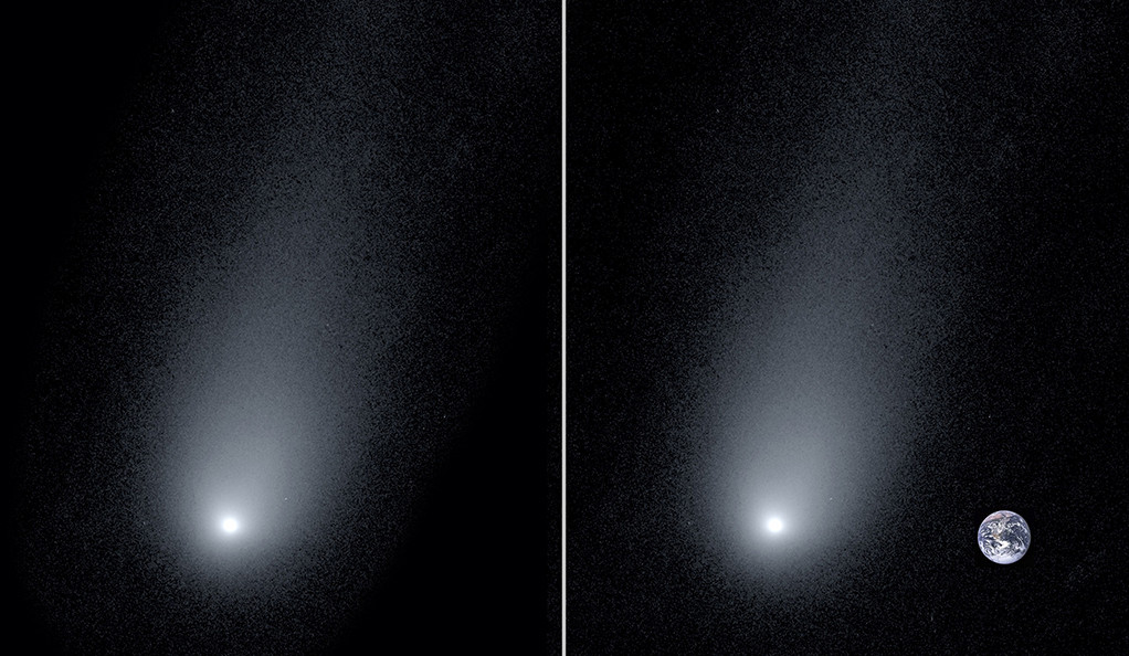 A composite image of the comet  2l/Borisov with a photo of the Earth to show scale.