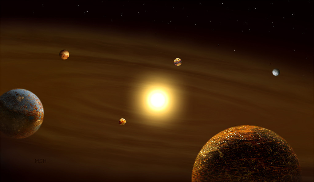 An illustration of several planets orbiting a distant sun.