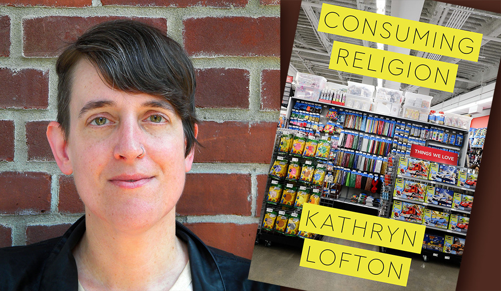 "A graphic of Professor Kathryn Lofton and the cover of her book ""Consuming Religion."""