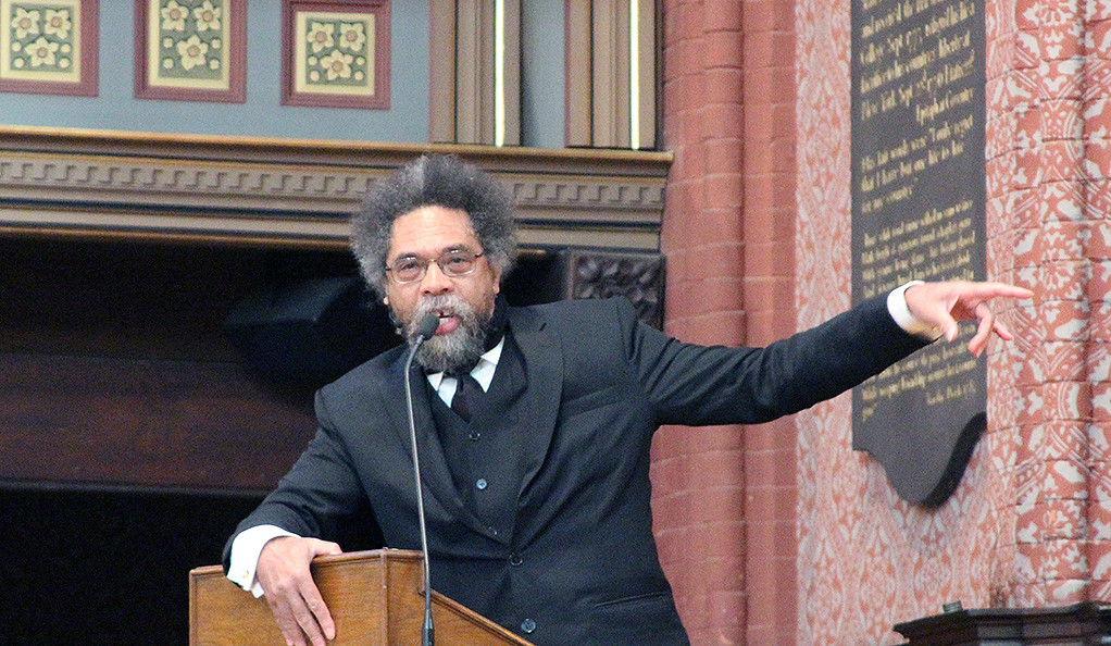 Cornel West delivers a lecture at Battell Chapel at Yale University.