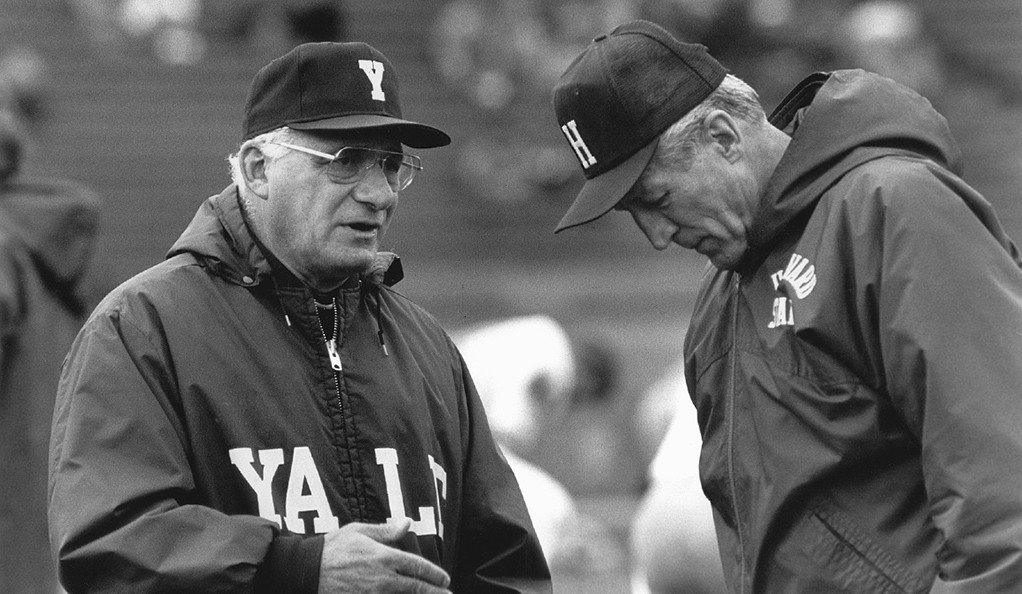 Carm Cozza coaching during a Yale football game.