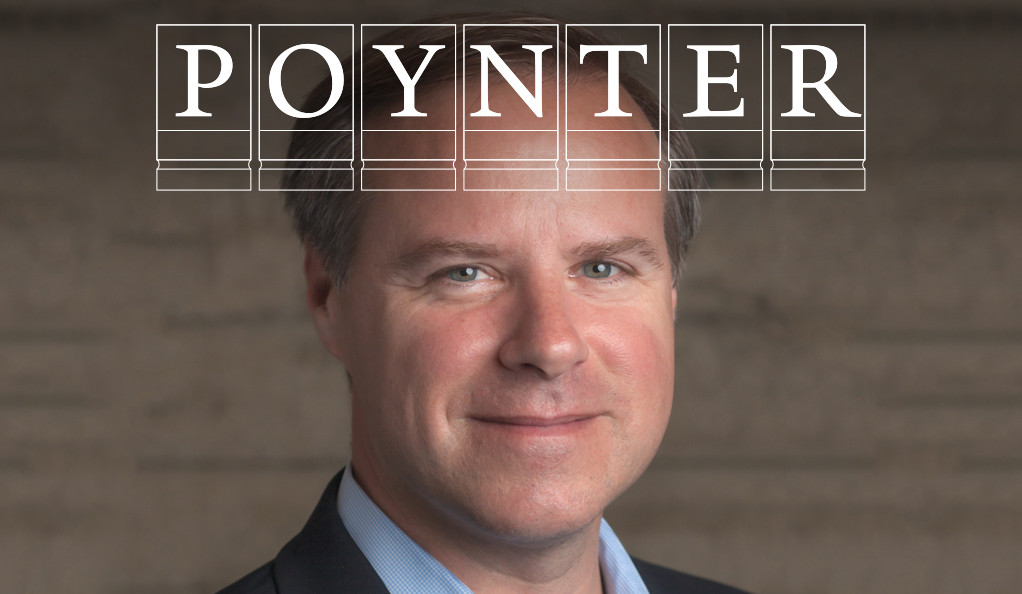 Twitter VP Colin Crowell with Poynter logo.