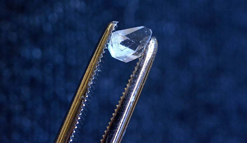 A crystal of monoammonium phosphate.