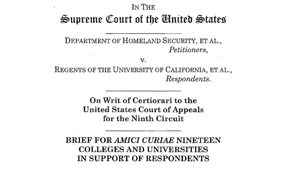 The cover page of an Oct. 4, 2019 amicus brief filed by Yale and 18 colleges and universities in defense of the DACA program