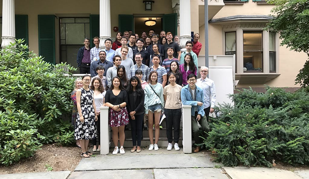 Students and faculty outside of Dana House, the home of the Department of Statistics and Data Science.