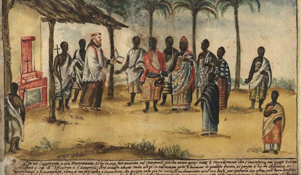 This watercolor by Capuchin monk Bernardino D'Asti depicts a Christian wedding ceremony in the kingdom of Kongo, circa 1750.