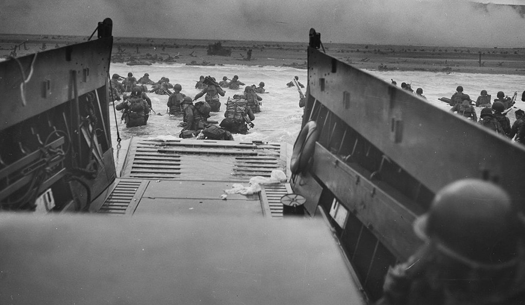 U.S. Army troops storming Normandy on D-Day, June 6, 1944.