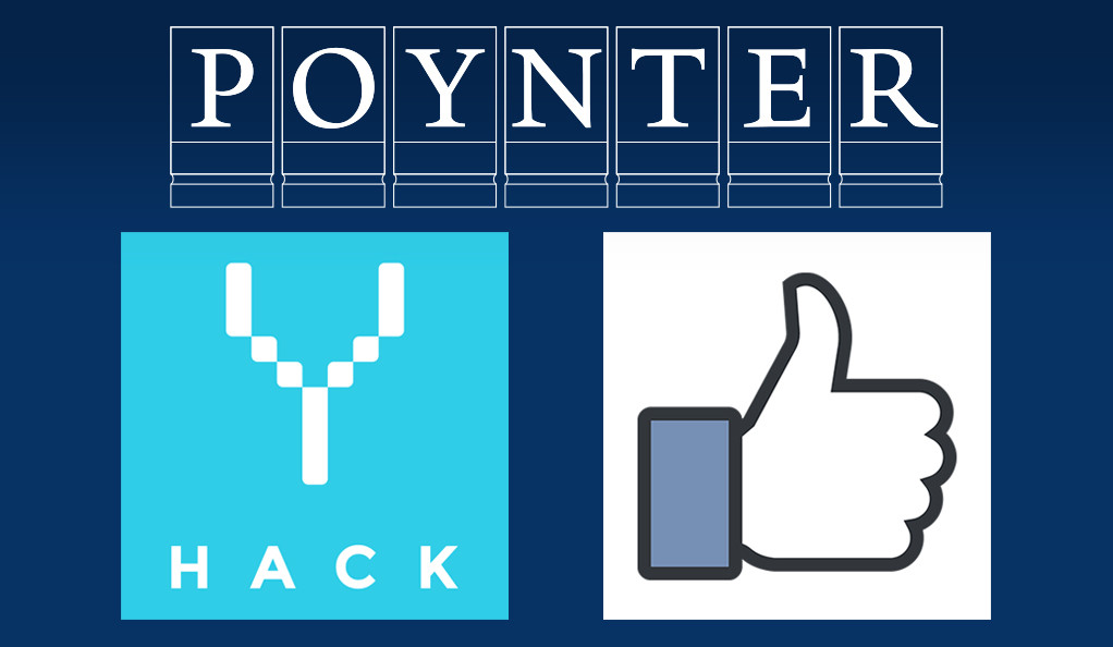 """A graphic combining Facebook's """"thumbs-up"""" icon and the logo for YHACK hackathon."""