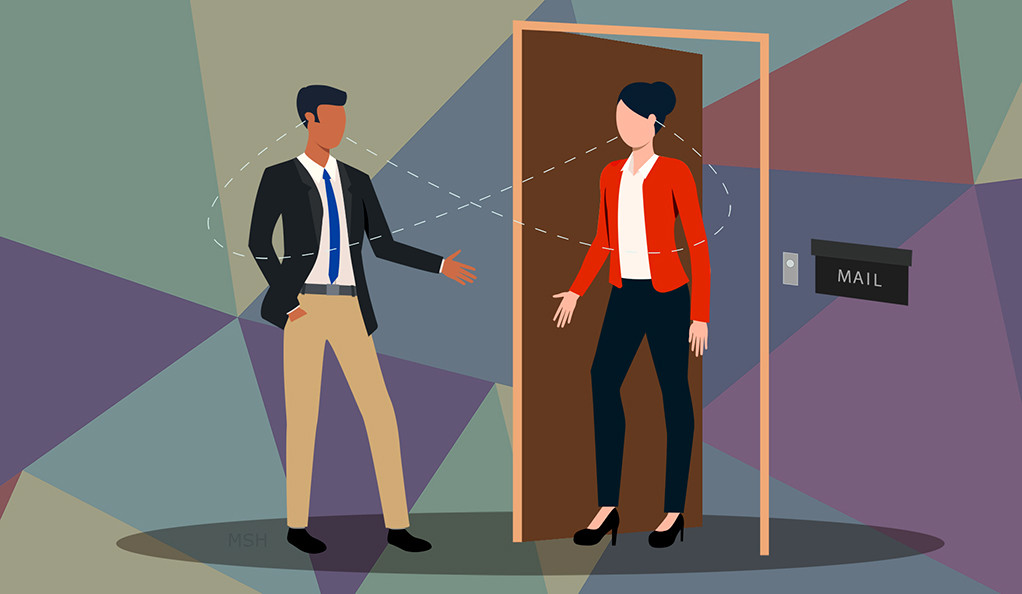 An illustration of a canvaser talking to a woman at her front door.