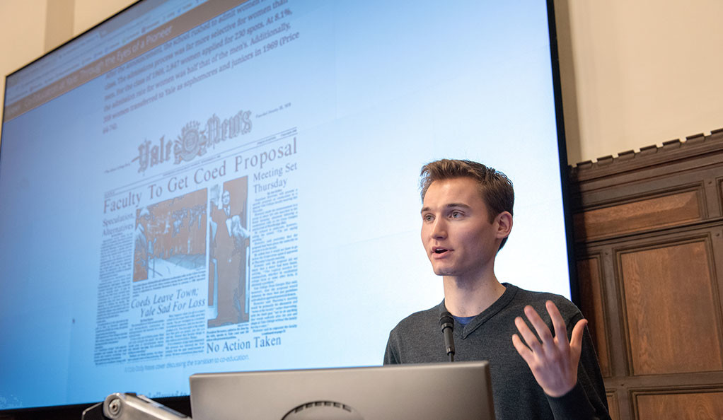 Yale undergraduate Japper Feinberg describes a project at the Beyond Boundaries symposium at Yale.