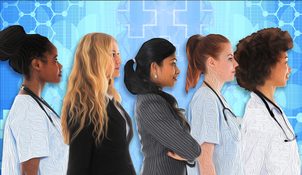 A stylized collage of a multi-ethnic group of young women health practitioners.