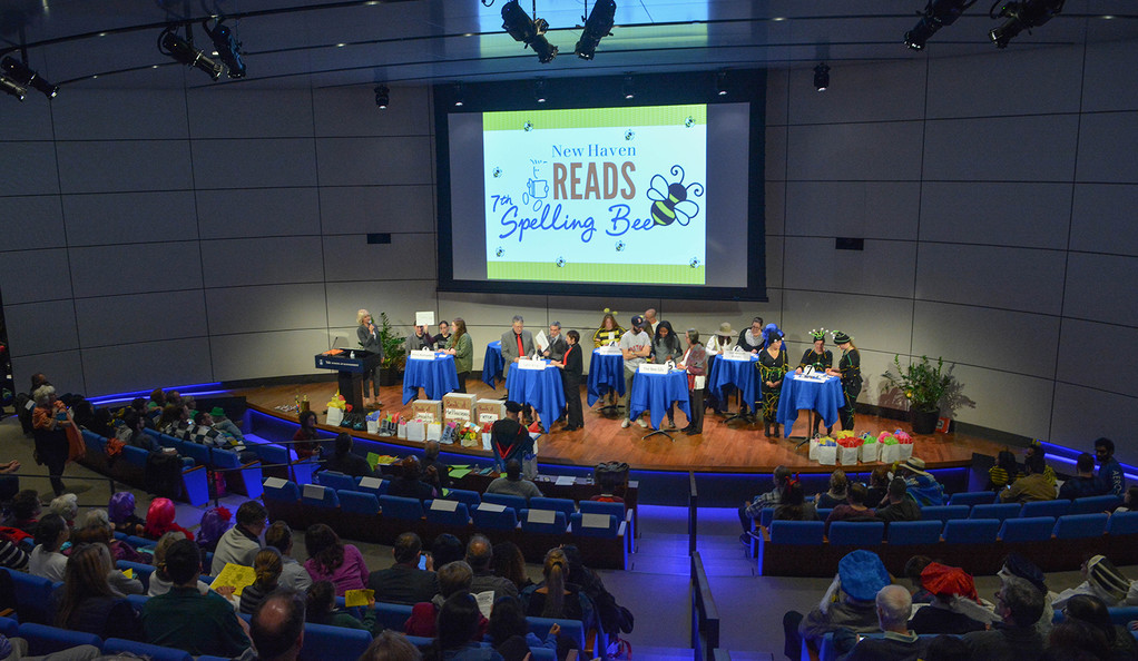 The seventh annual New Haven Reads Spelling Bee took place in the Zhang Auditorium at Edward P. Evans Hall at Yale University