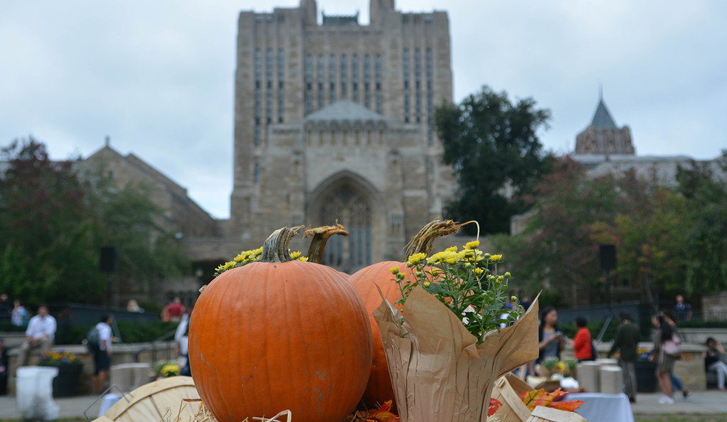 An autumn harvest display in front of the Sterling Library on Cross Campus at Yale.