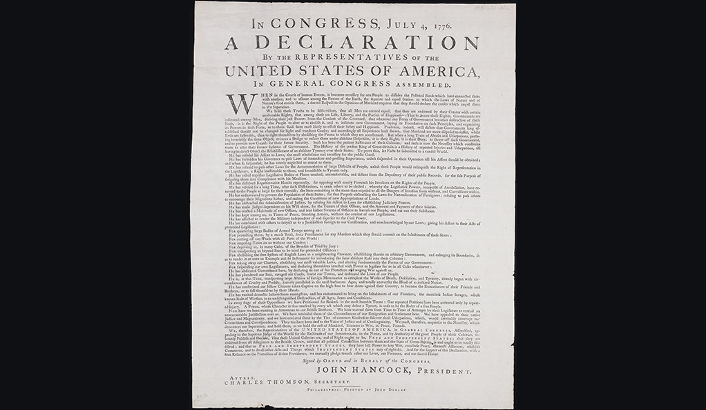 The so-called Dunlap Broadside, one of the remaining first printings of the Declaration of Independence.