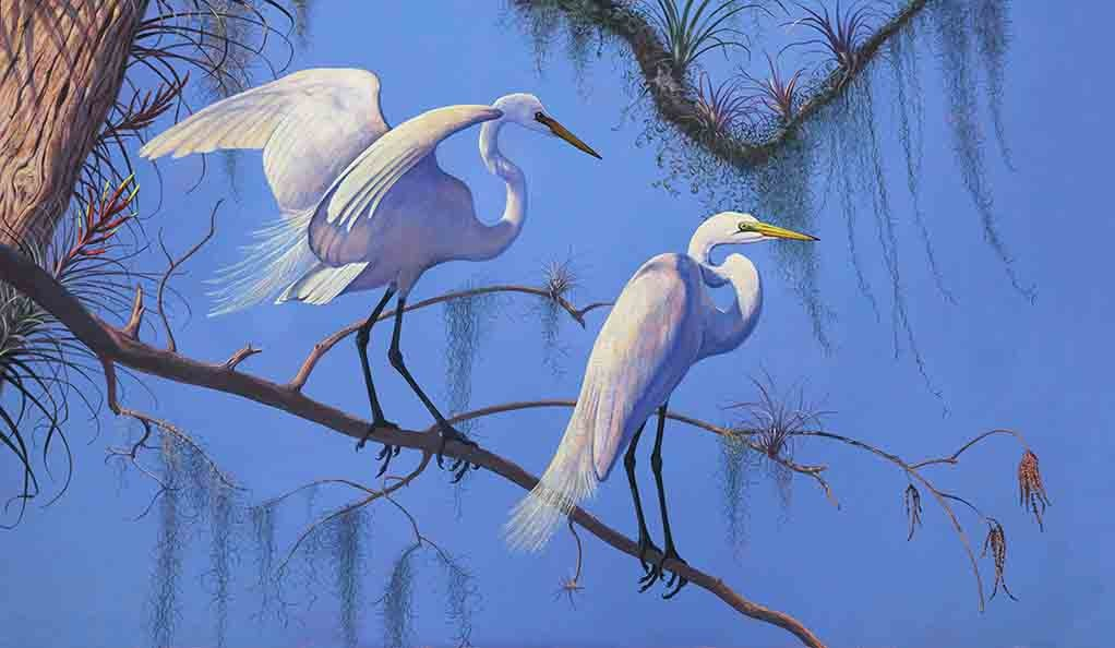 A painting of egrets in a tree.