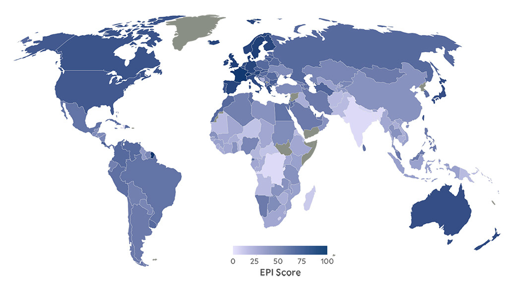 A world map color coded according to national EPI scores.
