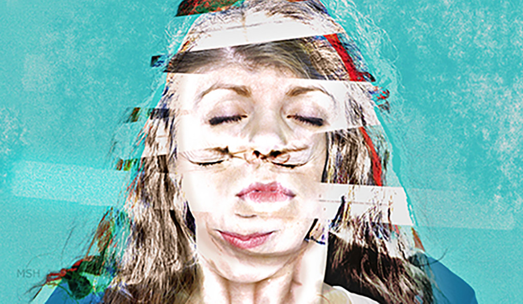 An abstract illustration of a woman having a seizure.