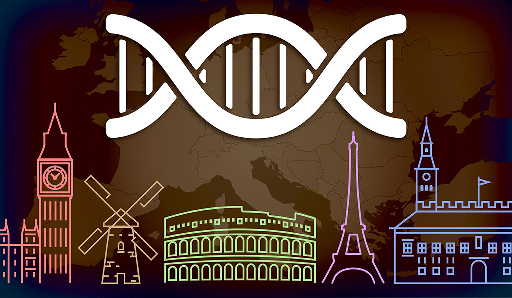 An illustration depicting a map of Europe with several famous landmarks and a DNA strand overlaid on top.