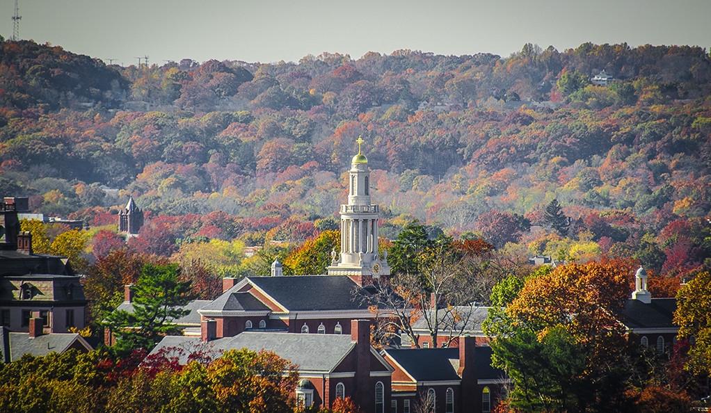 A view of the Yale Divinity School campus in autumn