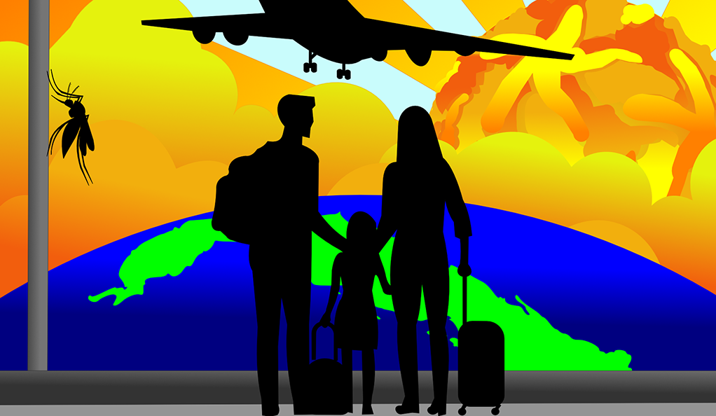 Illustration of a family at an airport with a large mosquito silhouette in the background
