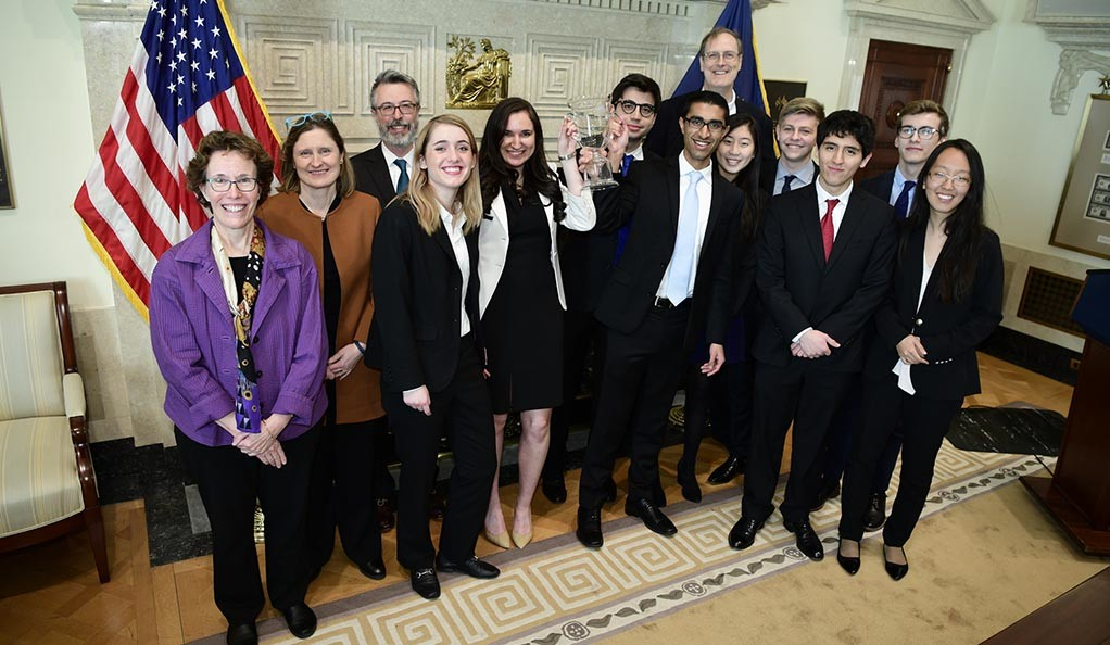 The winning Yale team in the Federal Reserve's College Fed Challenge.