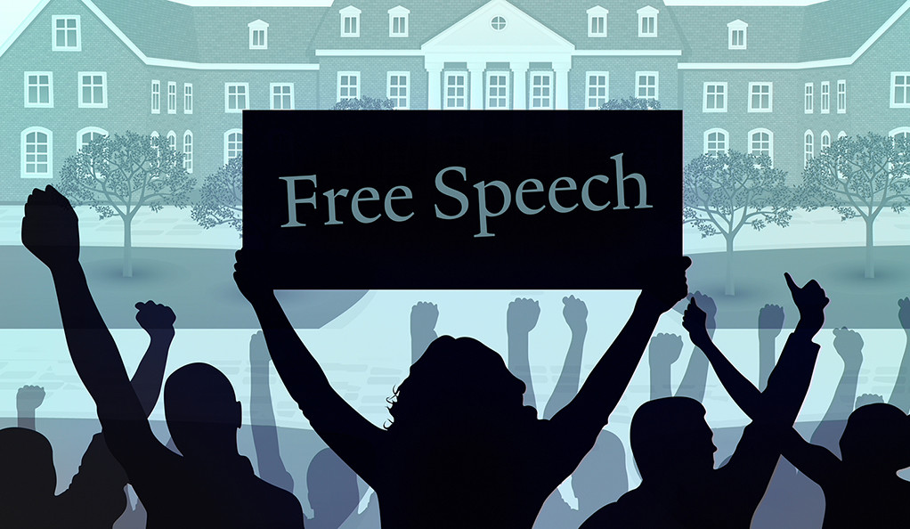 An illustration of a protest on campus with a student holding a sign that says Free Speech