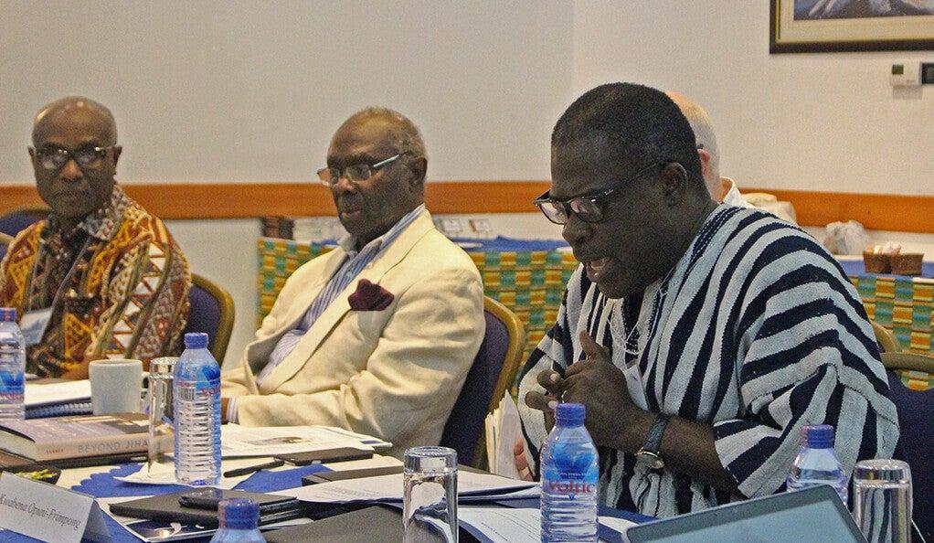 Dr. Kwabena Opuni-Frimpong, Lamin Sanneh, and J. Kwabena Asamoah-Gyadu at conference in Accra, Ghana.