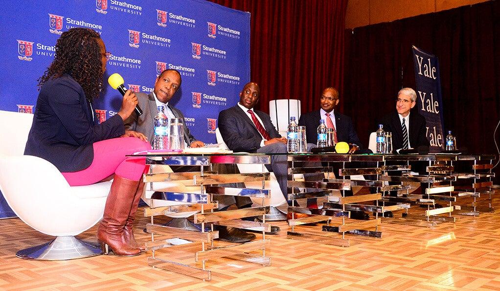 Moderator Amandla Ook-Ombaka, Dr. George Njenga, Kaakpema Yelpaal, Dr. Patrick Njoroge, and President Peter Salovey
