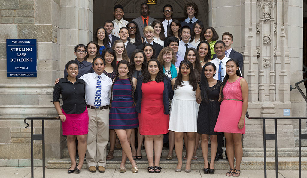 The Class of 2013 students who participated in Freshman Scholars at Yale pose outside the library.