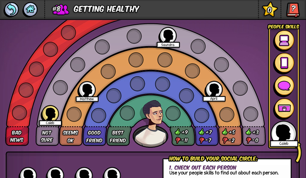 A screen capture from a video game designed to promote health and reduce risky behavior in teens.