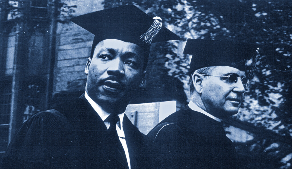 The Rev. Dr. Martin Luther King, Jr with former Yale trustee the Rev. Gardiner M. Day in 1964