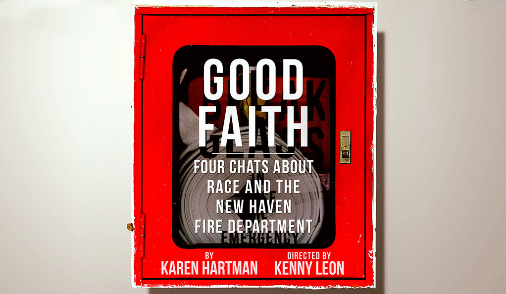"Poster for the play ""Good Faith,"" depicting a fire hose in a container on a wall."