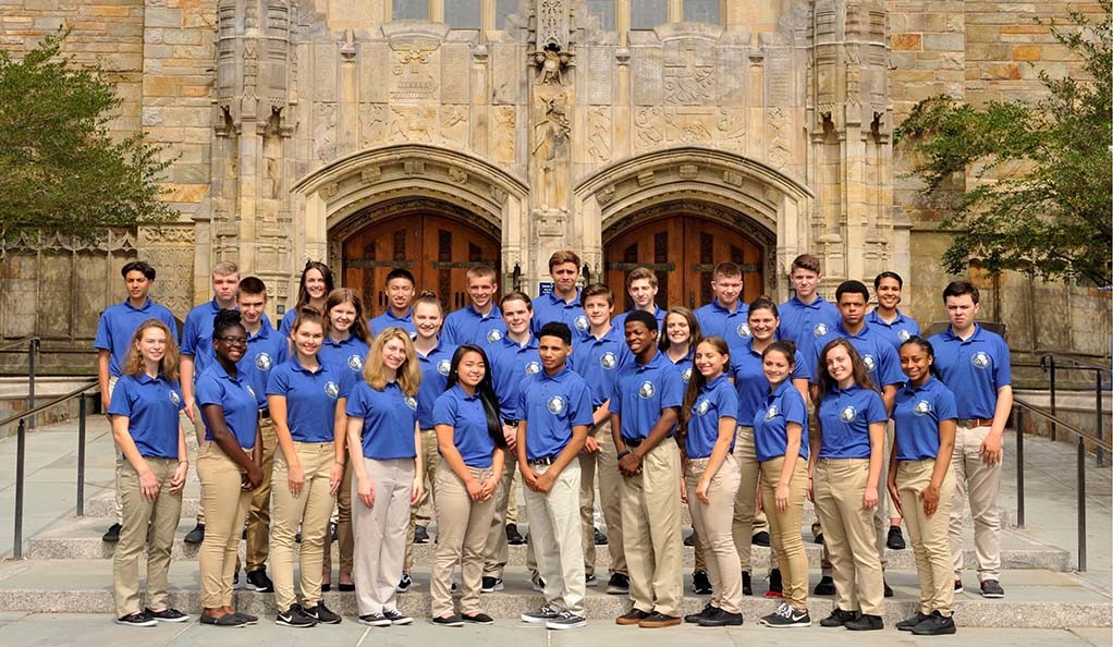 Future Law Enforcement Youth Academy's Class of 2017 poses outside of Sterling Memorial Library.
