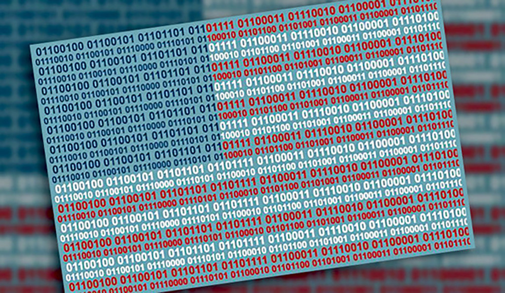 Artistic depiction of the American flag made out of binary code
