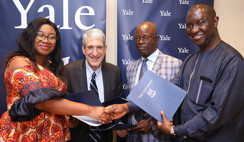Peter Salovey with Lagos officials.