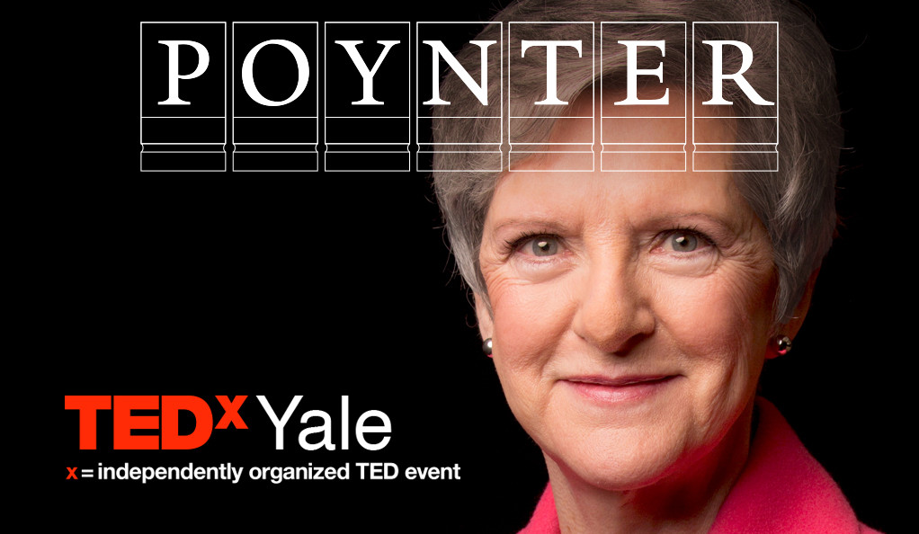 Diana Henriques with Poynter and TEDx logos.