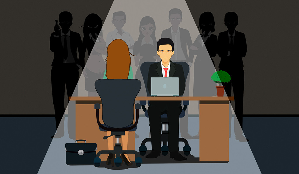 An illustration of a woman during a job interview.