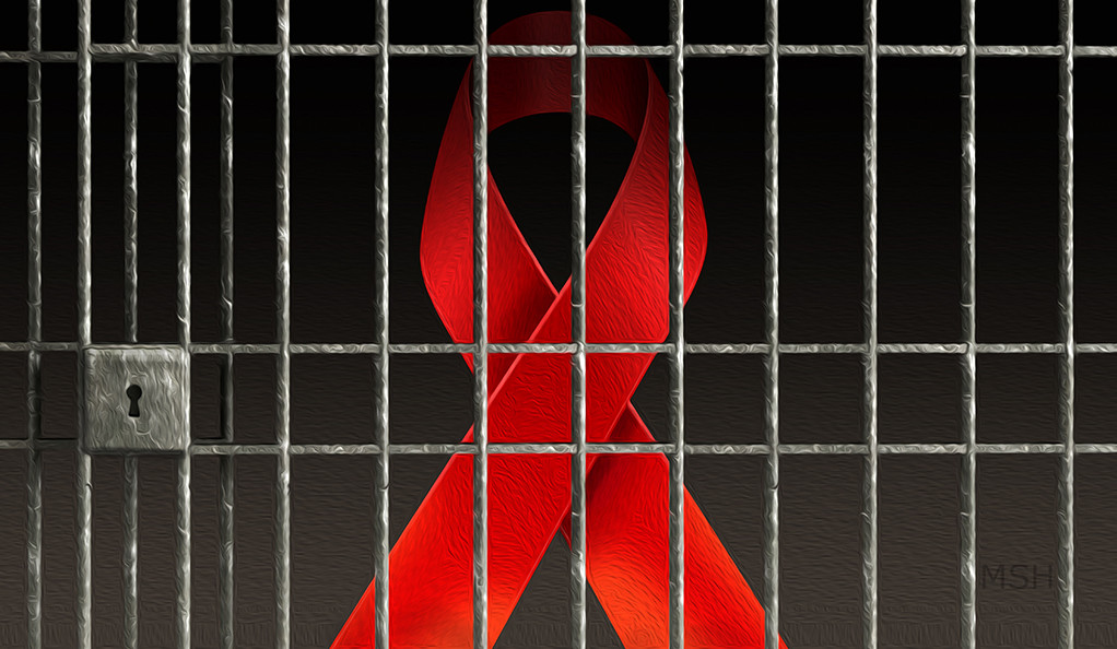 A graphic of an AIDS ribbon inside a prison cell.