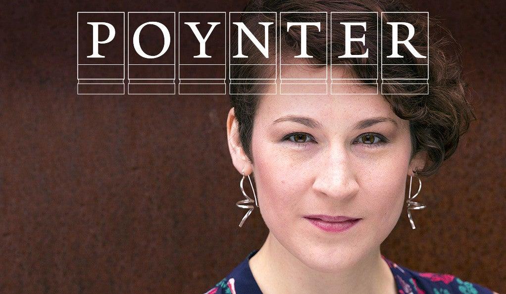 Sarah Holdren with the Poynter Fellowship logo.
