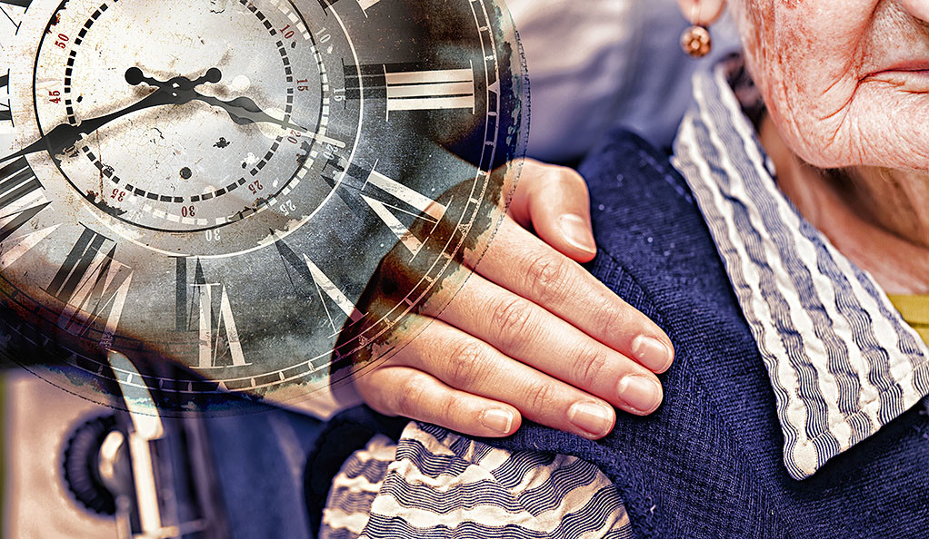 A stock image of an elderly woman, with a superimposed clock.