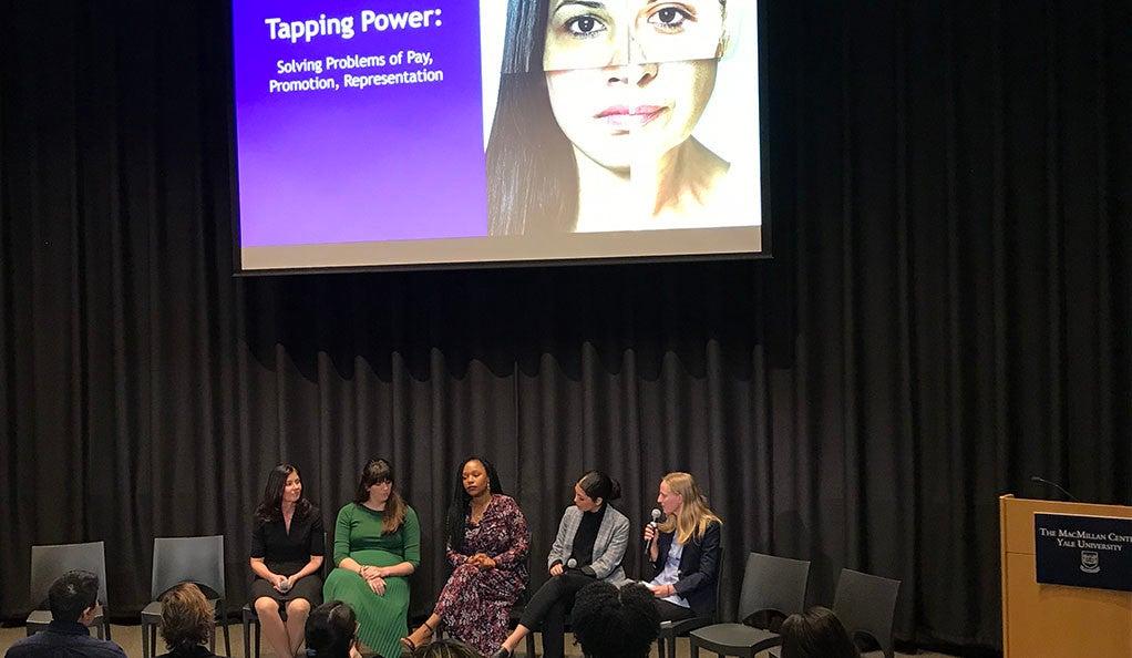Elizabeth Crowley, Kate Black, Sherrell Dorsey, Claudia Pagon Marchena, and moderator Molly Hensley-Clancy