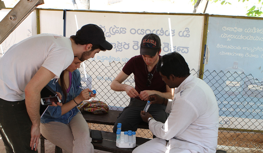 A group of Yale students working with an Indian scientist in Hyderabad.