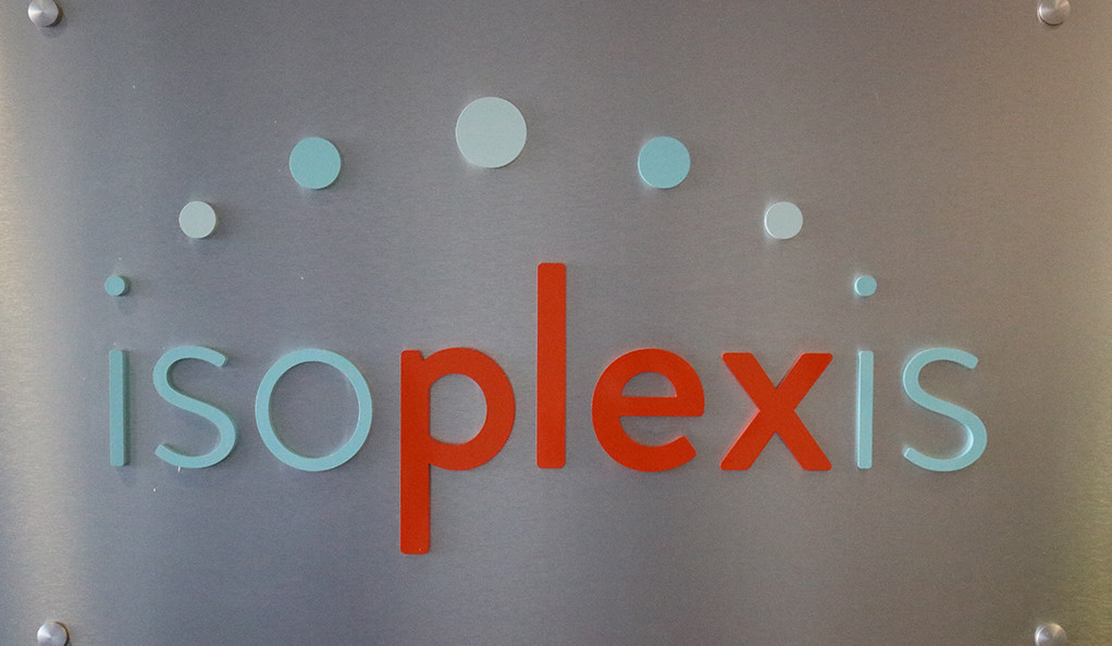 icoplexis logo on a metal wall sign