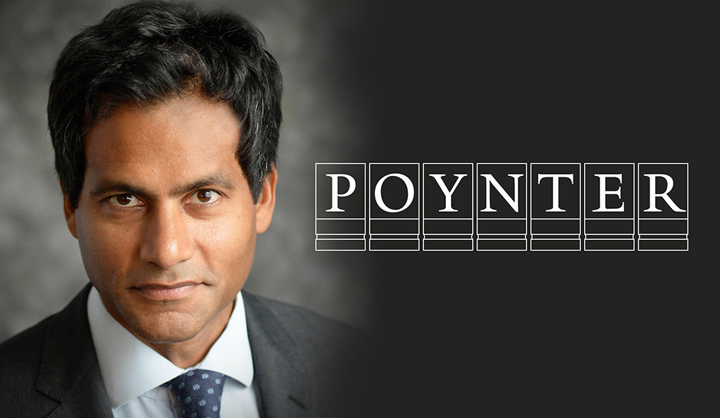 Jameel Jaffer, with Poynter Fellowship logo.